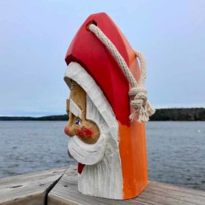 Large Hand Carved Santa Buoy Orange