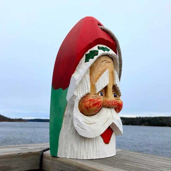 Large Hand Carved Santa Buoy Green