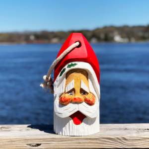 Large Hand Carved Santa Buoy Red