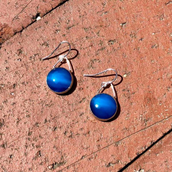 Bondi Blue Glass Earrings