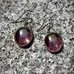 Lavender Pink Glass Earrings