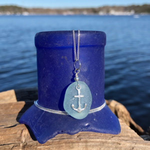 Sea Foam Sea Glass with Anchor Charm Necklace