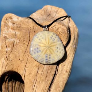 Tan Lavender Sand Dollar Necklace