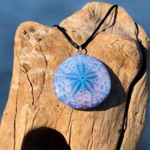 Indigo Tie Dye Sand Dollar Necklace