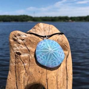 Blue Agate Sand Dollar Necklace