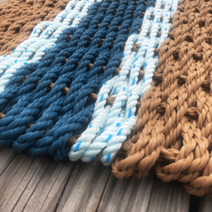 Blue & Slate Lobster Rope Doormat