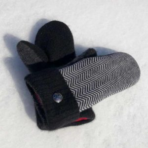 Black & White Recycled Sweater Mittens, fleece lined