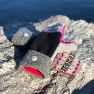 Pink Grey & Black Sweater Mittens