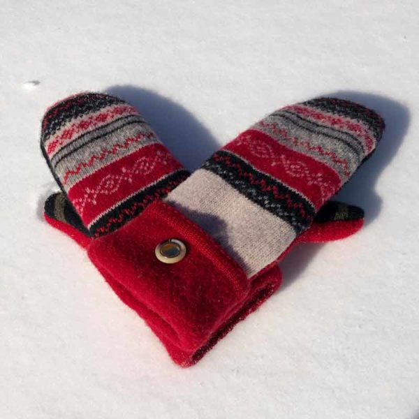 Red & White Sweater Mittens
