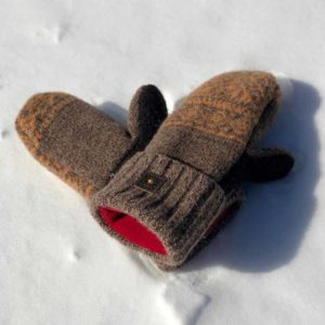 Brown & Peach Sweater Mittens