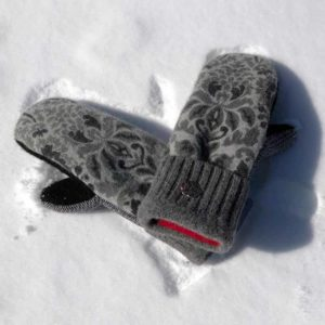 Grey & Black Sweater Mittens