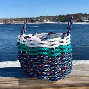 Blue & Green with White Trim Lobster Rope Basket