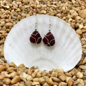 Deep Red Sea Glass Earrings