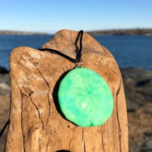 Bright Green Sand Dollar Necklace