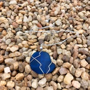 Chunky Blue Sea Glass Necklace