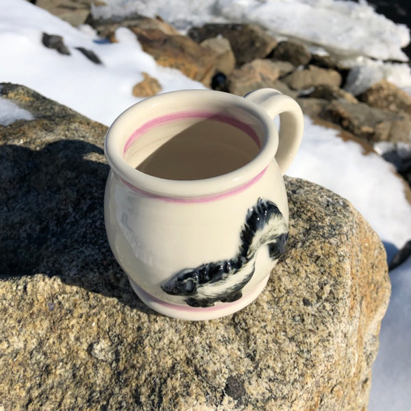 Skunk Mug with Purple Stripe