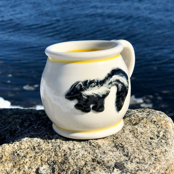 Skunk Mug with Yellow Stripe