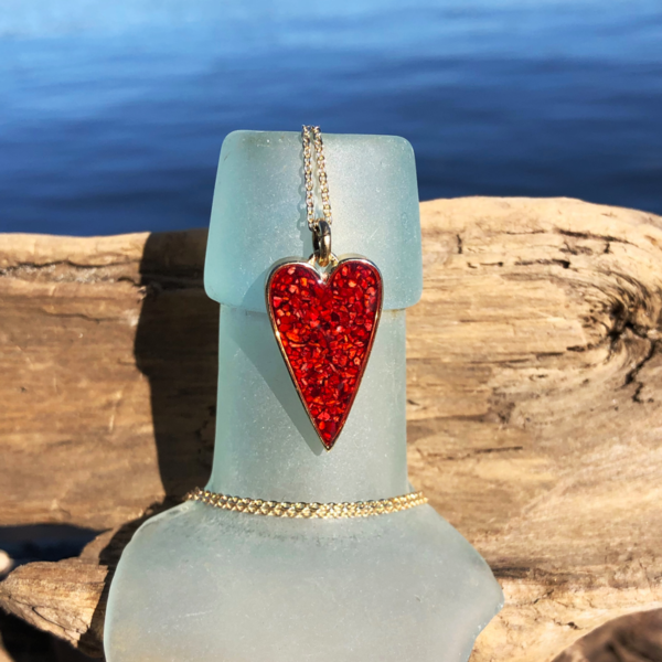 Crushed Lobster Shell Small Heart Necklace