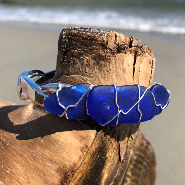 Blue Sea Glass Bracelet