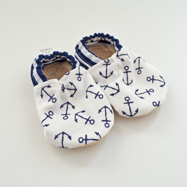 Two Little Beans Booties - Navy Anchors