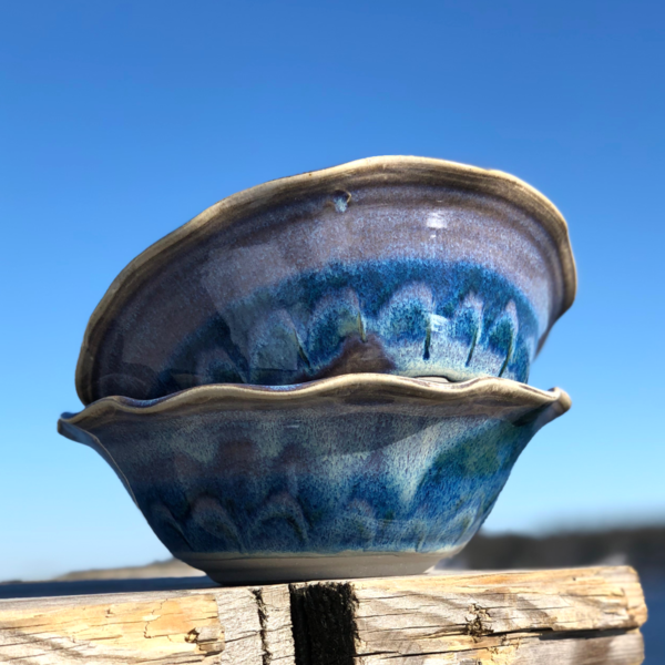 Ruffled Bowl in Fred's Glaze by Unity Pond Pottery