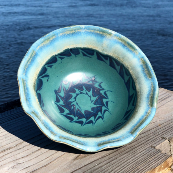 Ruffled Bowl in Peacock Glaze by Unity Pond Pottery