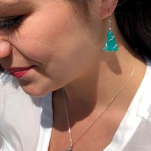 Teal Green Sea Glass Earrings