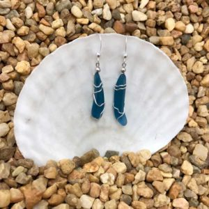 Denim Blue Sea Glass Earrings