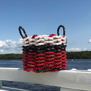White Black Red Lobster Rope Basket