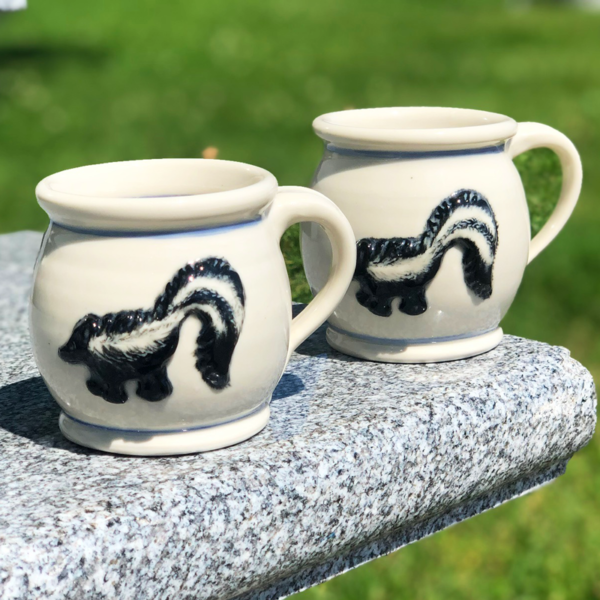 Skunk Mug with Blue Stripe
