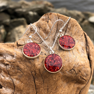 Crushed Lobster Shell Circle Jewelry Set