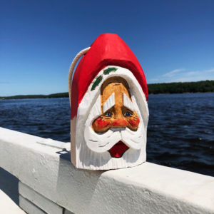Small Hand Carved Santa Buoy Tan