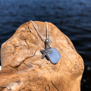 Light Blue Sea Glass with Starfish Charm Necklace