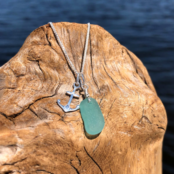 Tiny Teal Sea Glass with Tiny Anchor Charm Necklace