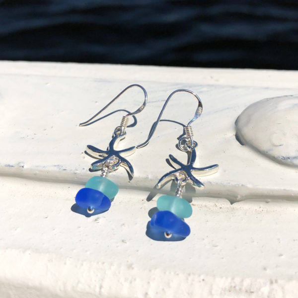 Stacked Sea Glass Starfish Earrings - Teal & Blue