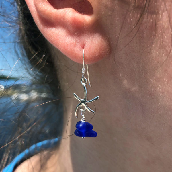 Stacked Sea Glass Starfish Earrings - Cobalt Blue