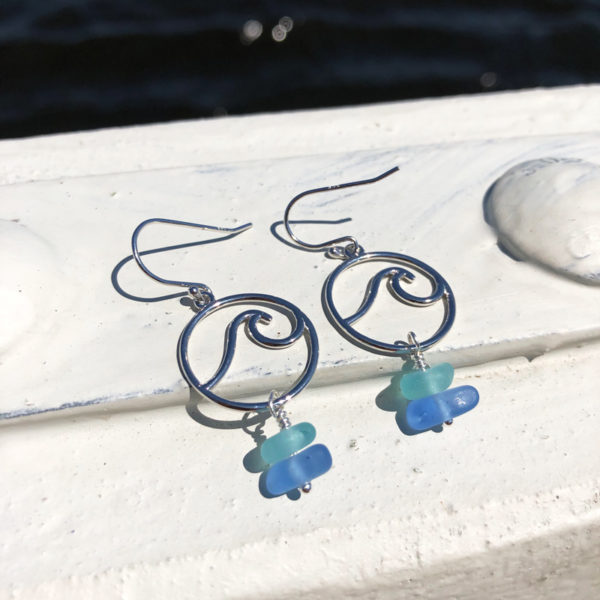 Stacked Sea Glass Wave Earrings - Teal & Light Blue